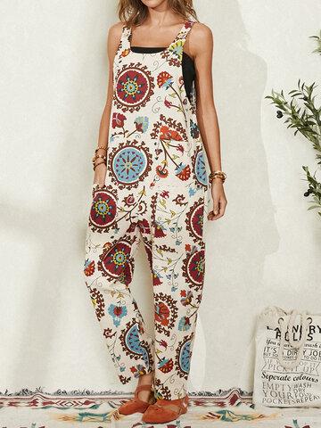 Ethnic Print Pocket Casual Jumpsuit