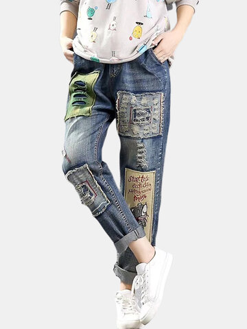 Stickerei-Patch zerrissene Jeans