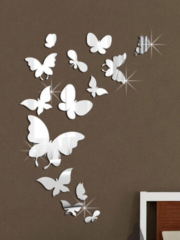 14PCS Acrylic 3D Butterfly Pattern Self-adhesive Removable Home Decor Mirror Wall Sticker