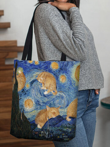 Cat Abstract Galaxy Pattern Tote