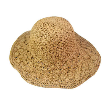 Folding Straw Bucket Cap Hollow-out Sunscreen Vacation Cap, Coffee brown pink