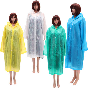 Women Raincoat Translucence Button Coat de pluie