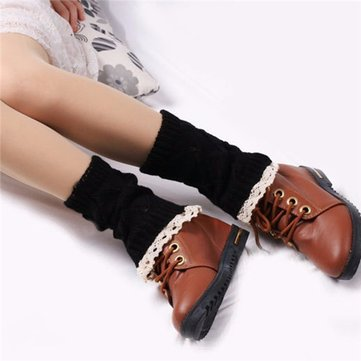 Women Crochet Knitted Lace Trim Soft Boot Cuffs Toppers Liner Leg Warmers