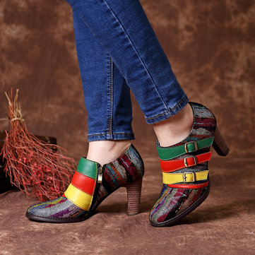 Colorful Stripes Buckle Pumps