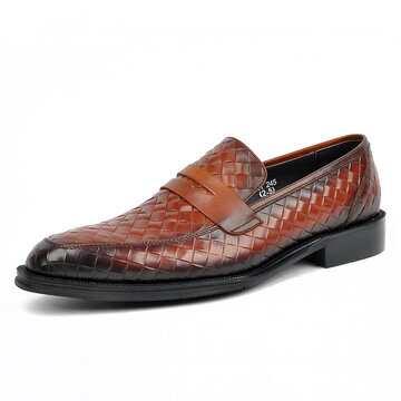 Men Woven Style Penny Loafers
