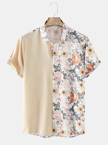 無地&花柄パッチワークシャツ