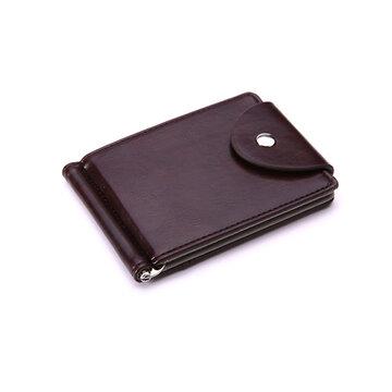 Carteira de couro Pu com 6 Entalhes de cartão e Saco de moeda para homens