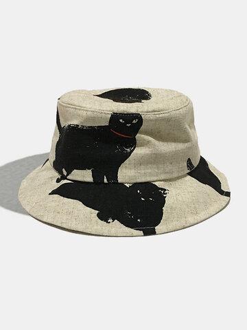 Women & Men Cat Pattern Casual  Bucket Hat