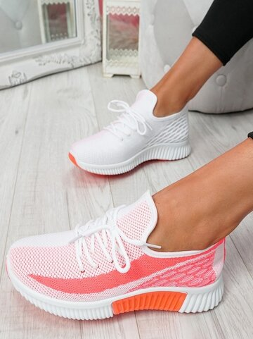 Wide Fit Lace Up Front Mesh Running Shoes