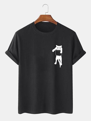 Cartoon Cat Chest Print T-Shirts