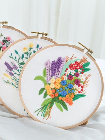 3D Bouquet Flower Printed DIY Embroidery Kits