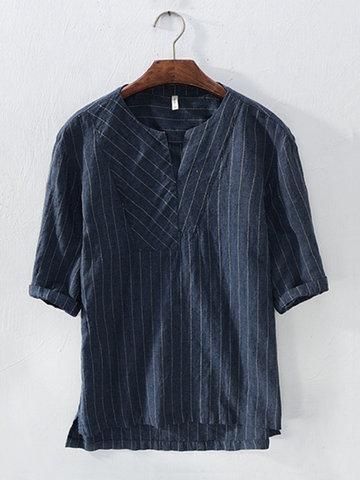 T-Shirt De Estilo Japonês Casual Listrada De Algodão