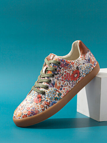 SOCOFY Floral Printed Casual Sneakers Walking Shoes Skate Shoes