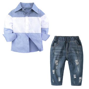 Boys Printed Shirt Jeans Sets For 1Y-7Y