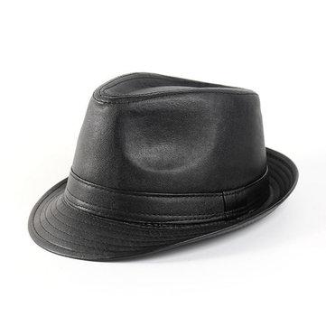 Hombres Mujer Cuero Negro Fedora Panamá Jazz Cap Té Party Bowler Casual Short Brim Gentleman Sombreros