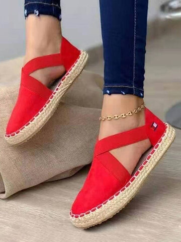 Woven Elastic Band Flat Espadrilles Shoes