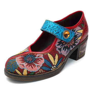 SOCOFY Floral Jacquard Leather Pumps