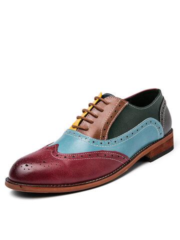 Men British Style Broguo Color Block Casual Dress Shoes