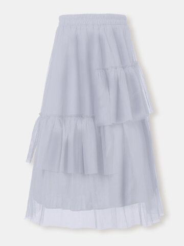 Solid Color Asymmetrical Tulle Skirt