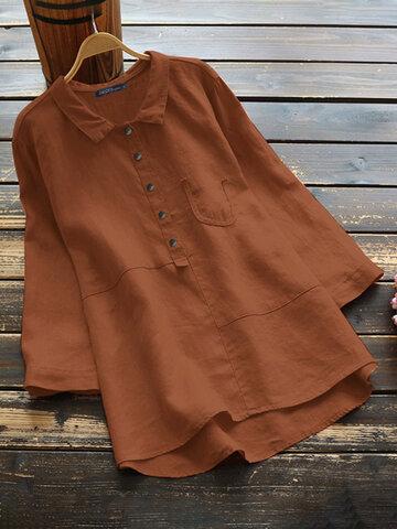 Casual Solid Color Cotton Blouse