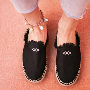 Comfy Breathable Espadrille Backless Flats