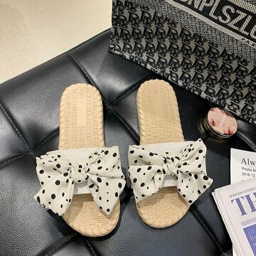Wave Point Bownot Decor Flats Slippers