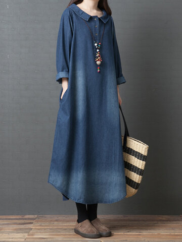 Denim Solid Color Irregular Dress