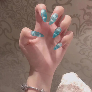 Blue Almond Nails Tips