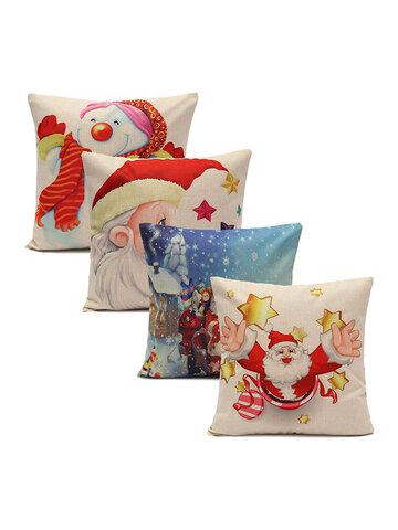 Christmas Snowman Santa Claus Cushion Cover