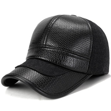 Synthetic Leather Earmuffs Baseball Cap
