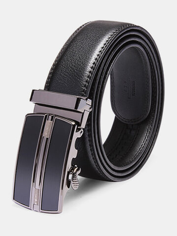 120CM Men's Automatic Buckle Leather Casual Business Black Belt