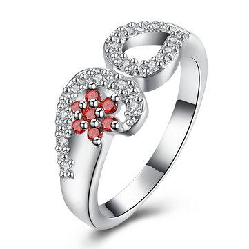 Anneau de luxe YUEYIN Anneau de fleur en zircon rouge élégant pour femmes