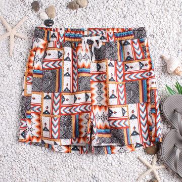 Plaid National Style Print Board Shorts