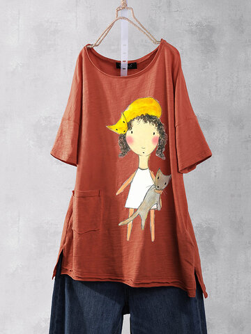 Cartoon Girl Print Baumwolle süßes T-Shirt