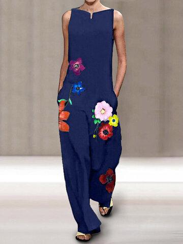 Flowers Print Sleeveless Jumpsuit