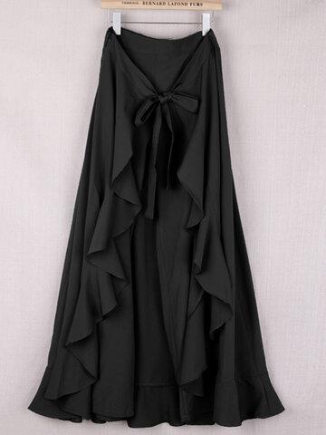 Elegant Flouncing Drawstring Dress Pants