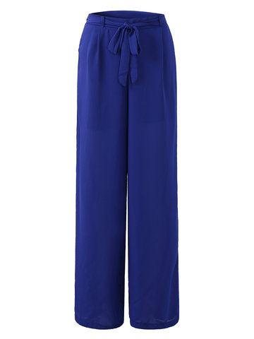 Women Elastic Waist Pure Color Chiffon Wide Leg Pants