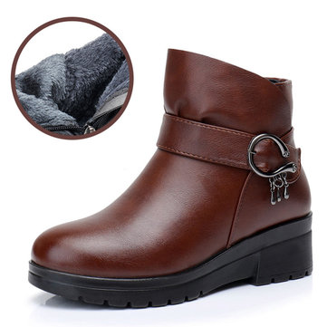 Leather Warm Lined Zipper Ankle Boots