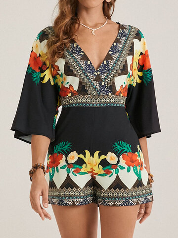 Bohemian Ethnic Floral Print Backless Romper