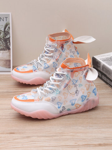 Back Knotted Design Mesh Fabric Sneakers