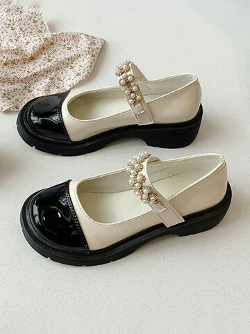 Black&White Splicing Pearl Leather Shoes