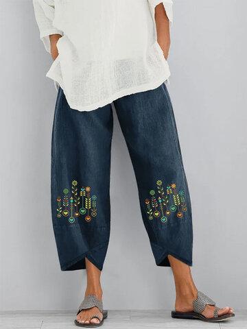 Floral Printed Elastic Waist Pants