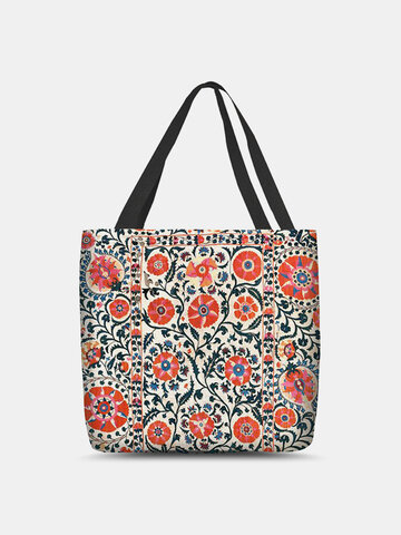 Ethnic Red Floral Tote