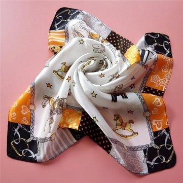 Sciarpe sciarpe con faccettina in seta a quadretti stampati per donna