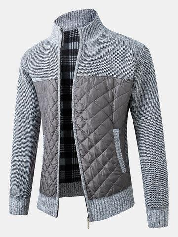 Patchwork Zip Up Knit Cardigans