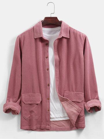 Corduroy Solid Lapel Collar Shirts