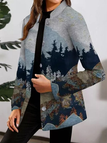 Forest Print Stand Collar Coat