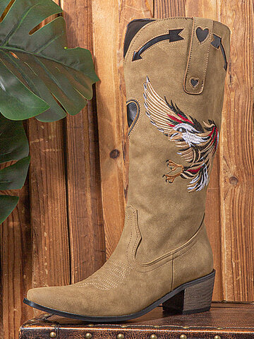 Animal-print Embroidered Cowboy Boots