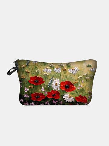 सूरजमुखी मुद्रित मेकअप बैग