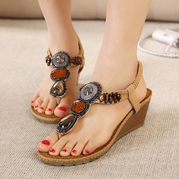 Bohemia Beaded Stone Slip On Elastic Wedge Talão Clip Toe Beach Sandals